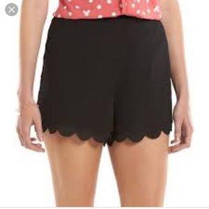 Lauren Conrad Black Scallop Hem Shorts Pockets XS